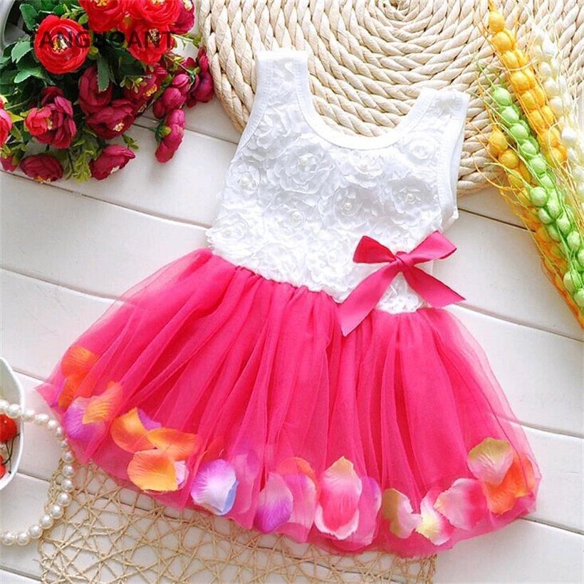Children Girls Sweetness Flower Kids Dress Princess Summer Sleeveless Mini Tutu Dress Childs Bow Pink Yellow Red Girls Clothing