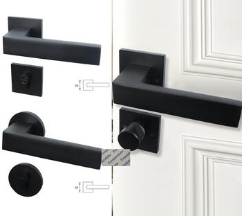 Round Square Matt Black Mortise Bedroom Interior Door Rosette Lock Set Thumb Turn Magnetic Lock Body