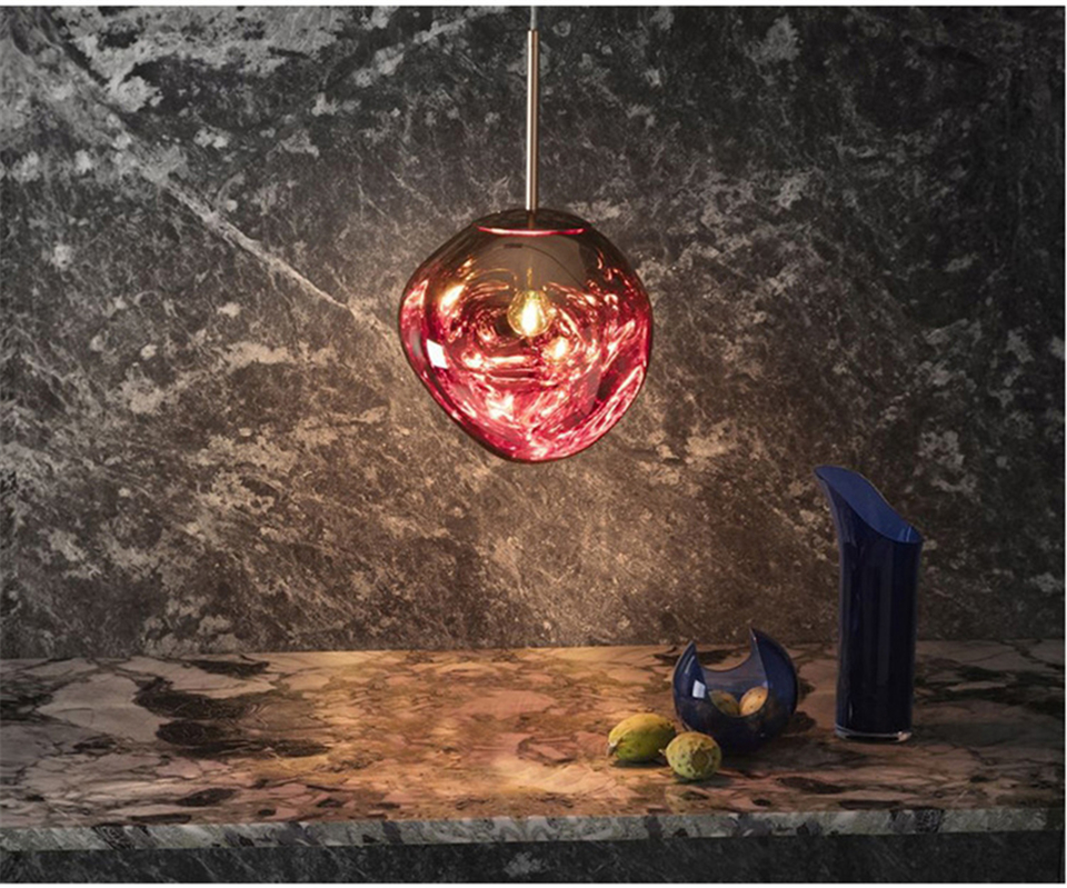 Red Geovancy Lava Pendant Lights