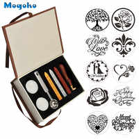 Mogoko Vintage Sealing Stamp With Seal Wax Sticks without Wicks Spoon Candles Kit Set Tree of Life/Weeding/ Heart/Rose/With Love