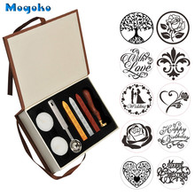 Mogoko Vintage Sealing Wax Stamp With Seal Wax Sticks without Wicks Spoon Candles Kit Tree of Life Weeding Heart Rose With Love