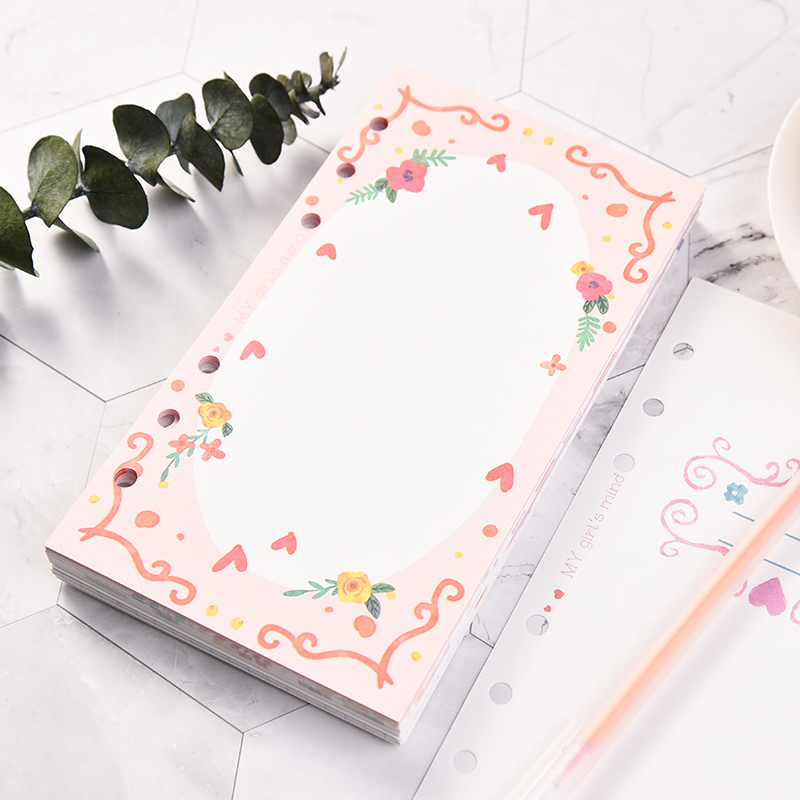 A5 A6 A7 Loose Leaf Colored My Girl Mind Refiller Papers Set, 6holes Notebook Padfolio Diy Accessory 101sheets/202pages(China)