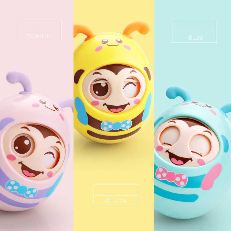 Baby 0-12 Months Toys Baby Rattles Mobile Doll Bell Blink Tumbler  Roly-poly Silicon Teether Toy For Newborns Gift infant toy