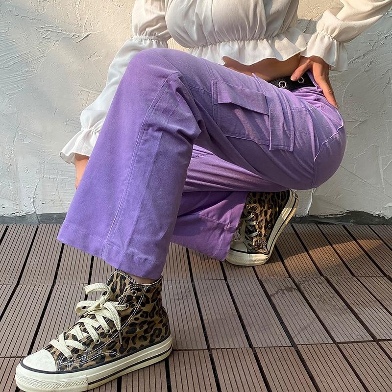 Darlingaga Casual Solid Straight Corduroy Pants Fashion Winter Pockets Trousers High Waist Cargo Pants Women Capris Pantalones 4