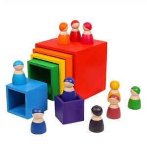 Image 2 - ของเล่นเด็กขนาดใหญ่Rainbow Stackerไม้ของเล่นสำหรับเด็กCreative Rainbow Building Blocks Montessoriของเล่นเพื่อการศึกษาเด็ก