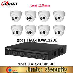 Image 1 - Dahua DVR kit 1pcs XVR5108HS X video recorder 8ch Up to 6MP H.265S and 8pcs HAC HDW1120E HDCVI camera 1MP IP67 cctv system