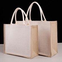 Sac de courses en Jute réutilisable unisexe, sac d'épicerie en toile de Jute écologique grande capacité, sac à main fourre-tout pour plage vacances pique-nique