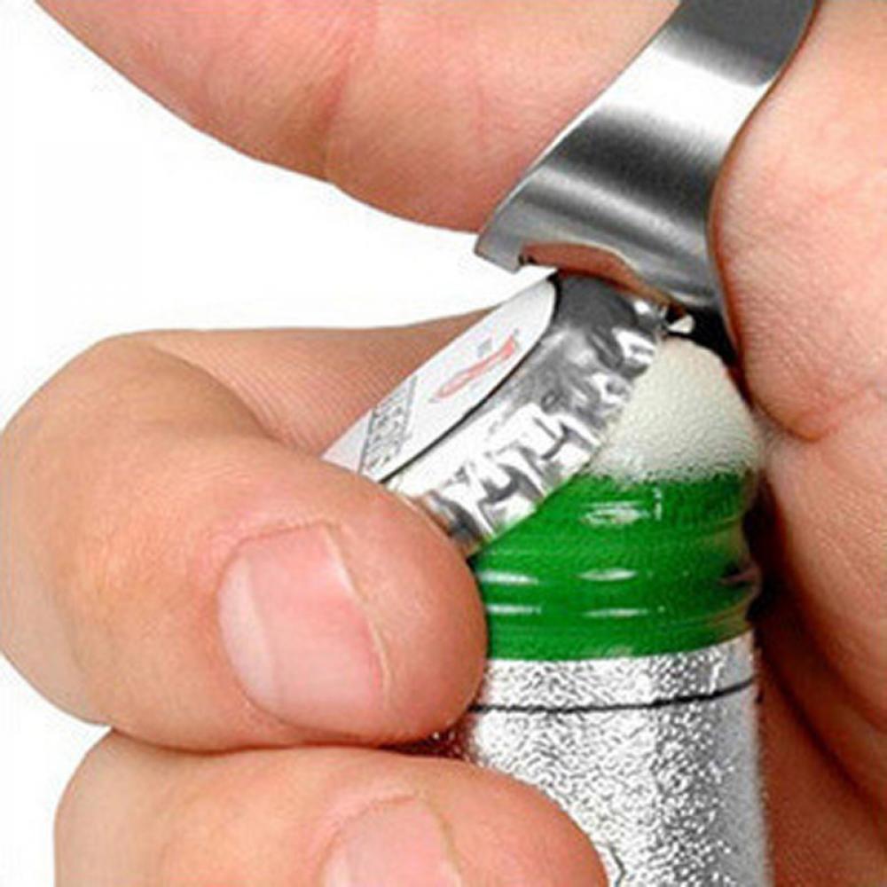 Hot  New 1Pcs Multi-function Stainless Steel Ring-Shape Opener Unique Creative Men Finger Ring Beer Bottle Opener Diameter 22mm