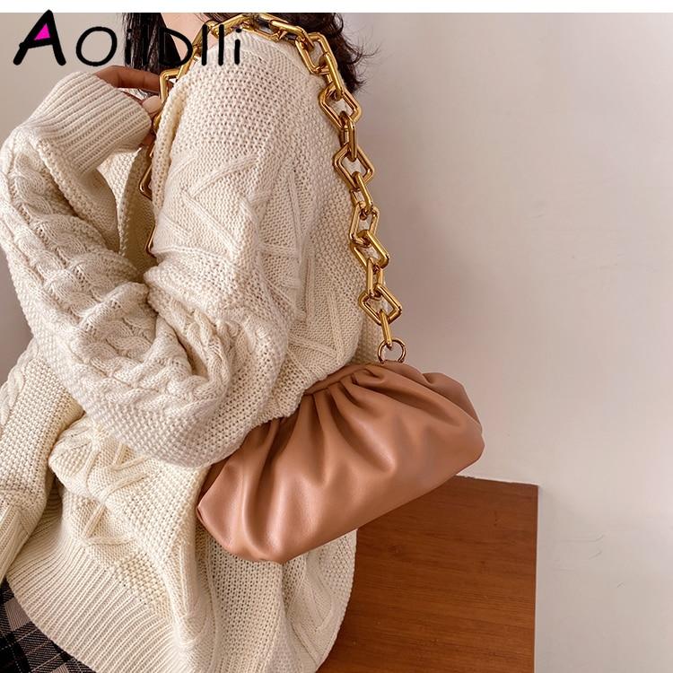 Female Soft Crossbody Bag 2019 Winter New Quality Leather Women's Designer Handbag Vintage Chain Shoulder Messenger Bag
