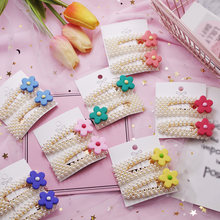 NEW 2019 Pearls Hairpins Flower Hair Clips for Girls 1PC Cream Color Geometric BB Clips Barrette Headwear Set Hair Accessories(China)