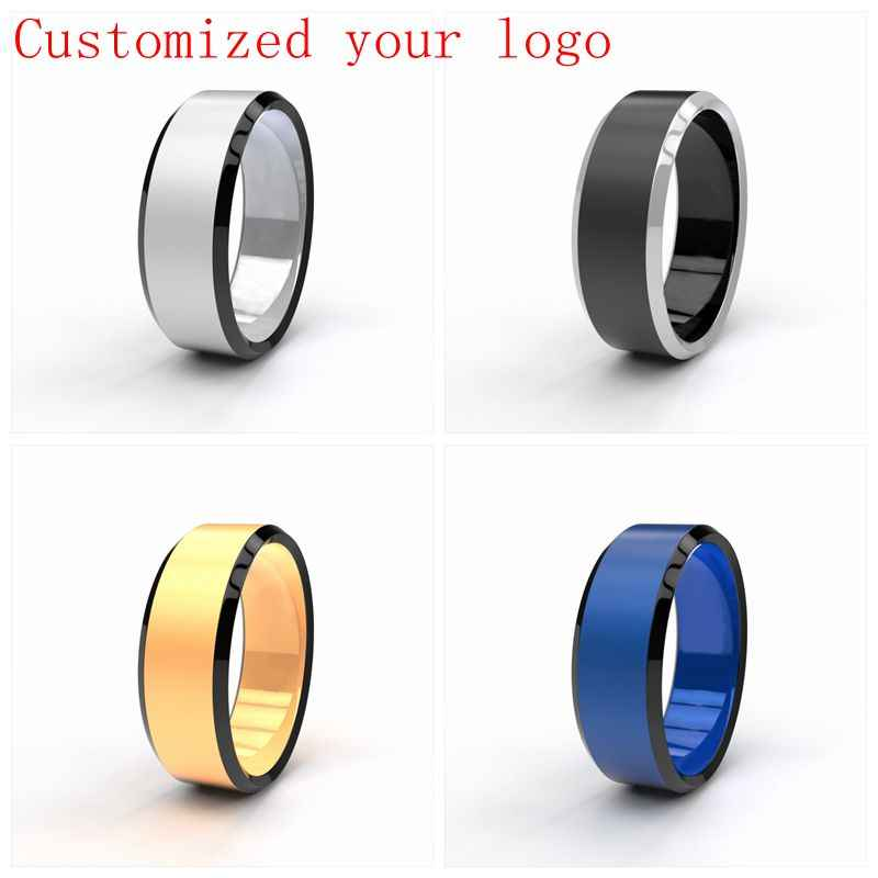 Dropshipping Customized Name DIY Logos 8mm Black/ Silver/ Gold Blue Titanium Rings Personalized Jewelry Wedding Rings for Mens