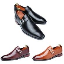 Homens sapatos de vestido de negócios escritório fivela mocassins oxfords sapatos de festa masculina sapatos de couro