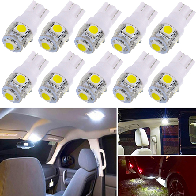 10X Led W5W T10 Led Light Bulb 5050 SMD Auto Wedge Lamp For Nissan Qashqai Almera Juke Tiida X-Trail Note Primera J11 Pathfinder