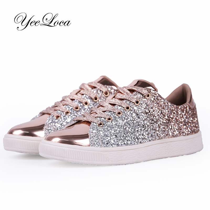 Womens Fashion Casual Rock Glitter Sparkling Sneakers Women's Encrusted Lace Up Shoes White Sole Fashion Street Sneakers Shiny