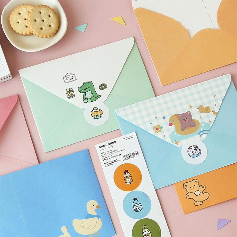 3Pcs/Set Kawaii Envelope Sticker Set Cute Animal Message Card Letter Stationary Storage Paper Gift Fairy Tale Island Series