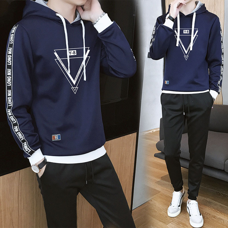 Teenager Xue Sheng Kuan Large Size Leisure Sports Suit Large Size Sports Clothing Hoodie Men's