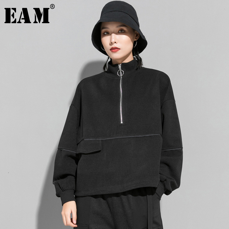 [EAM] Loose Fit Black Split Oversized Sweatshirt New Stand Collar Long Sleeve Women Big Size Fashion Spring Autumn 2020 1M804