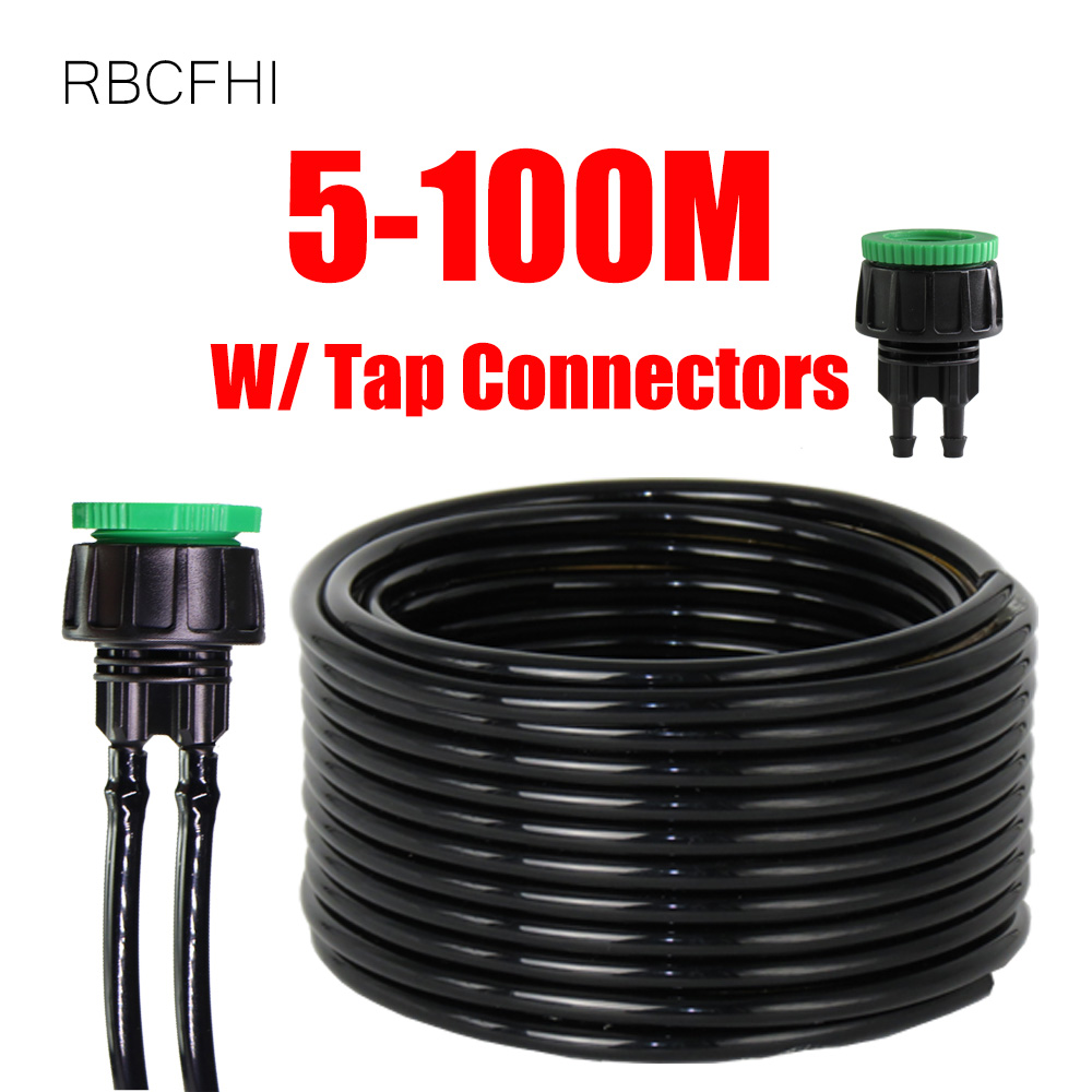 RBCFHl 5m-100m 4/7mm Garden Watering Hose PVC Pipe Micro Drip Irrigation Tubing Sprinkler W/ 1/2''&3/4'' Integrated Connector image