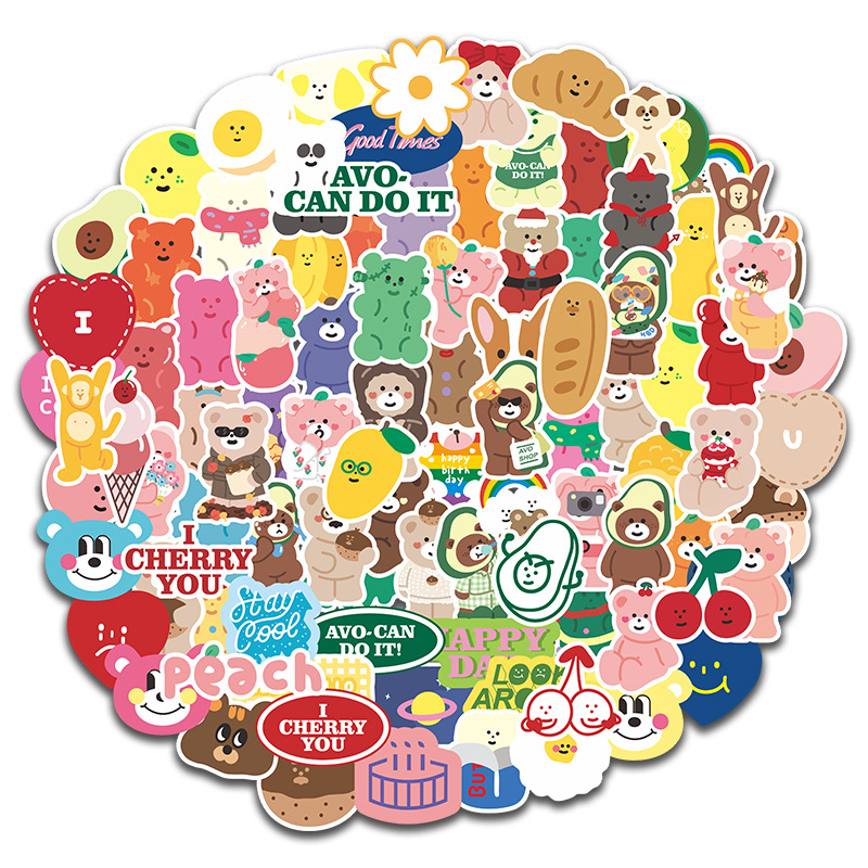 100Pcs/set Lovely Cake Bear Stickers For Scrapbooking Decorative Korean Diary Album Stick Label Kawaii Stationery Sticker Decals