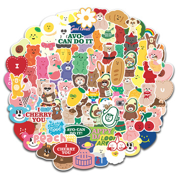 100Pcs/set Lovely Cake Bear Stickers For Scrapbooking Decorative Korean Diary Album Stick Label Kawaii Stationery Sticker Decals 100pcs lot cute little bear stickers set cartoon decoration scrapbooking stick label diary album stationery stickers stationery
