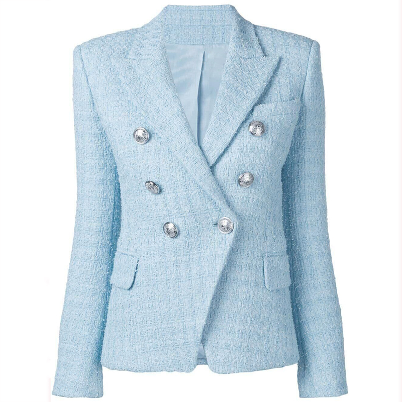 HIGH QUALITY Fall Winter 2019 Designer Jacket Women's Double Breated Lion Buttons Wool Blend Tweed Blazer