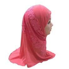 Casquette Hijab pour filles musulmanes, 2 à 7 ans, une pièce, sous-écharpe, joli motif de fleurs en dentelle, islamique, Amira, prêt à porter
