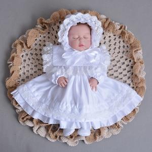 Комплект из 2 предметов, платье на крестины с длинными рукавами для новорожденных девочек, кружевное платье принцессы для крещения одежда д...