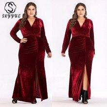 Skyyue Pleat V-neck Split Robe De Soiree Formal Gowns 2019 Solid Long Sleeve Plus Siz Evening Dress Women Party Dresses T046 цены онлайн