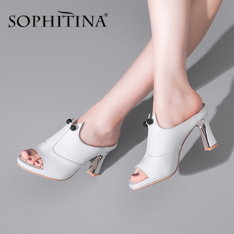 SOPHITINA New Sandals Women Concise High Quality Cow Leather Fashion High Heel Shoes Elegant Comfotable Slippers Women SO469