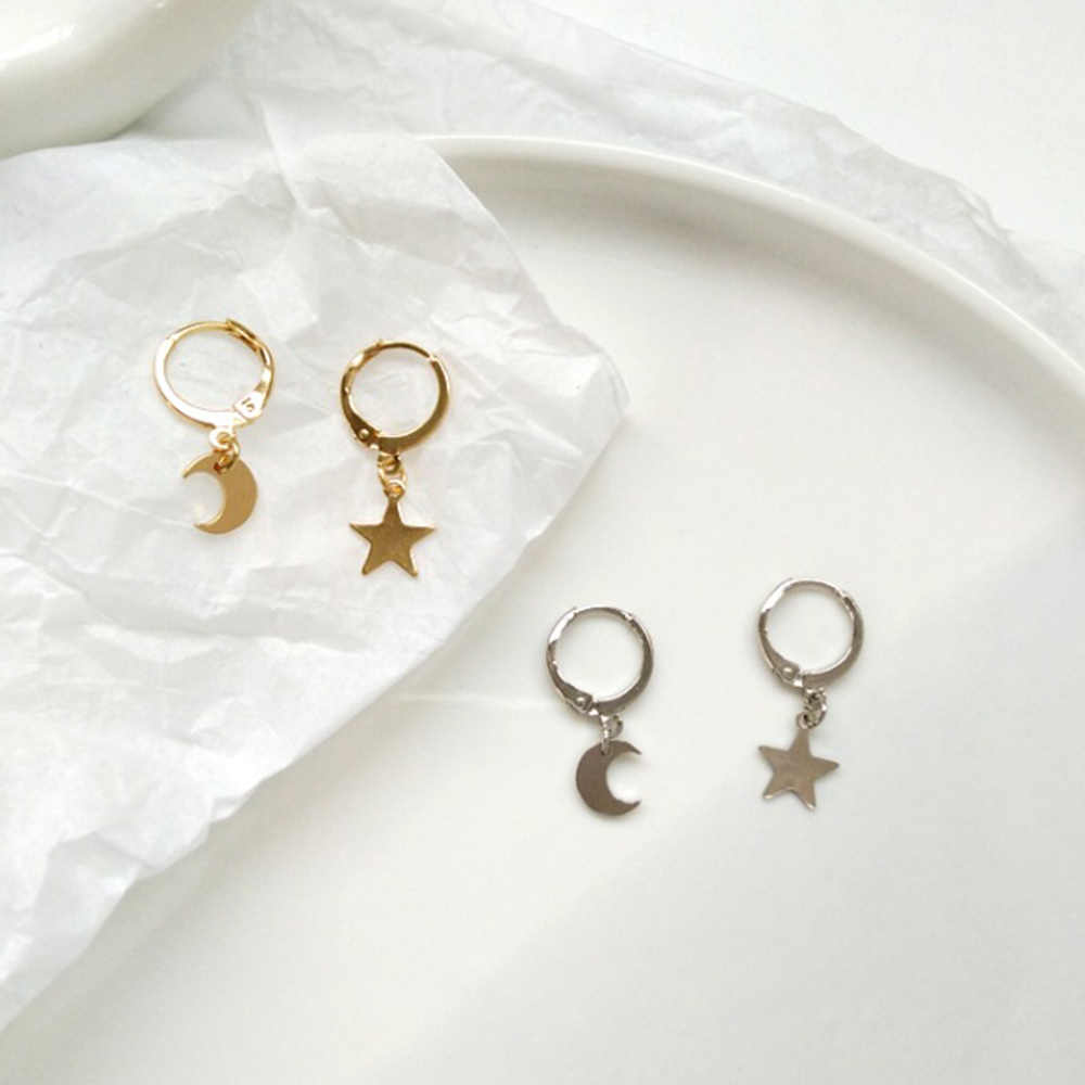 Gold Silver Color Asymmetry Star Moon Dangle Drop Earrings For Women Metal Jewelry Hanging Earring boucle d'oreille femme