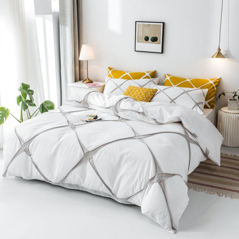 Bed Linens Euro White Color Bedding Set For Adult Queen Size Plaid Patterns drap de lit Beddings and Bed Sets King Size