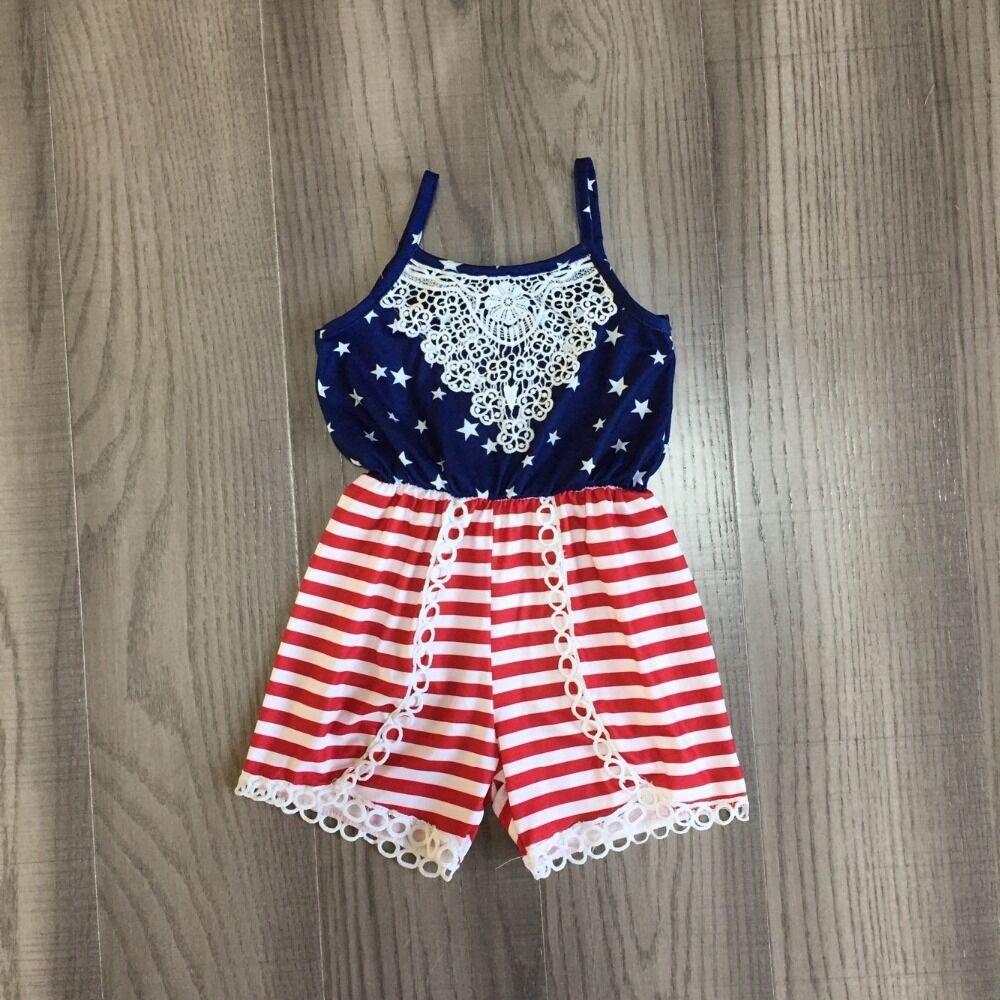 Baby Girls Summer Slip Romper Kids July 4th Clothing Stars Stripe Romper