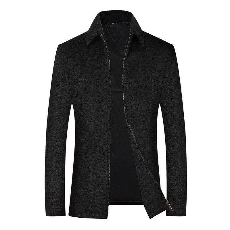 2020 Men's Wool Jacket Coat Male Black Business Casual Coats Brand Clothing Men Woollen Overcoat Father Gift BG517