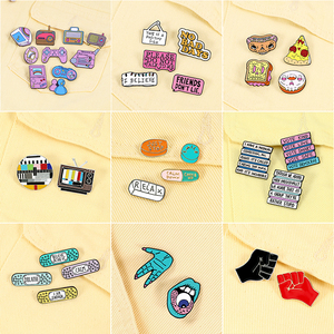 2-7pcs/set Cartoon Cute Enamel Pins Game Machine Food Fist TV Letter Brooches Punk Badge Jewelry Lapel Denim Pin Gift for Friend