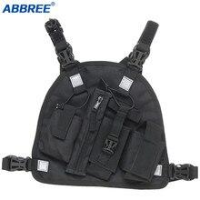 ABBREE วิทยุคู่ไหล่ HOLSTER หน้าอกสายรัดผู้ถือเสื้อกั๊ก RIG สำหรับวิทยุ Essentials กู้ภัย