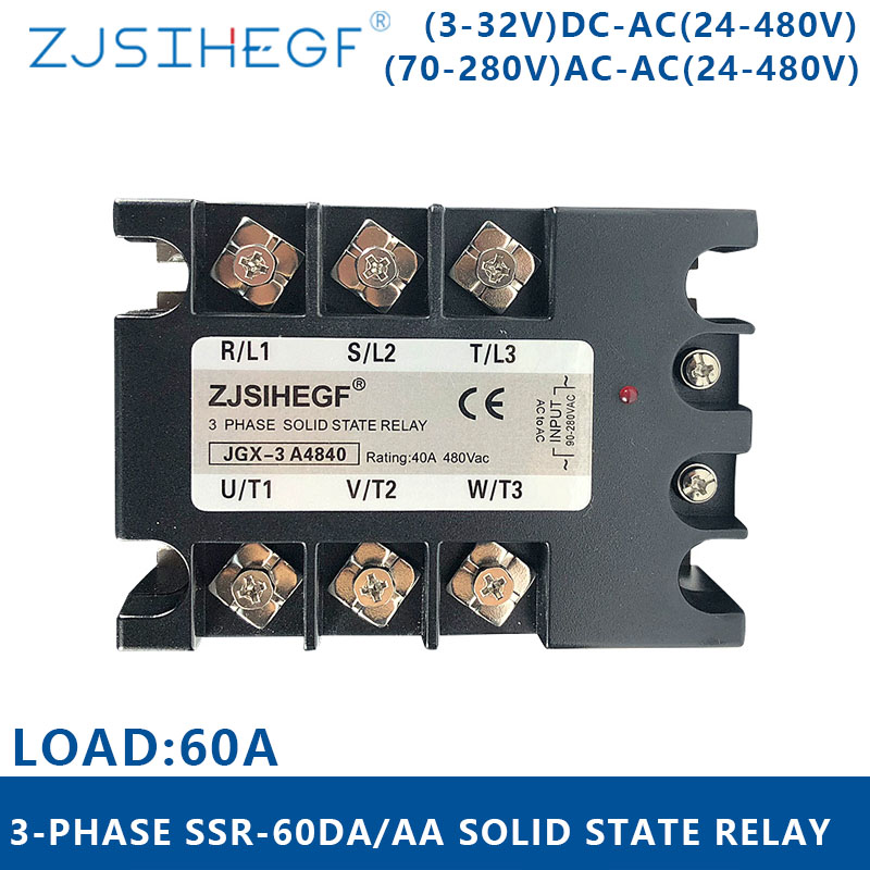 Three-phase <font><b>SSR</b></font> <font><b>60DA</b></font>/AA 3-32VDC/70-280VAC Three phase solid state relay output24-480VAC for industrial equipment image