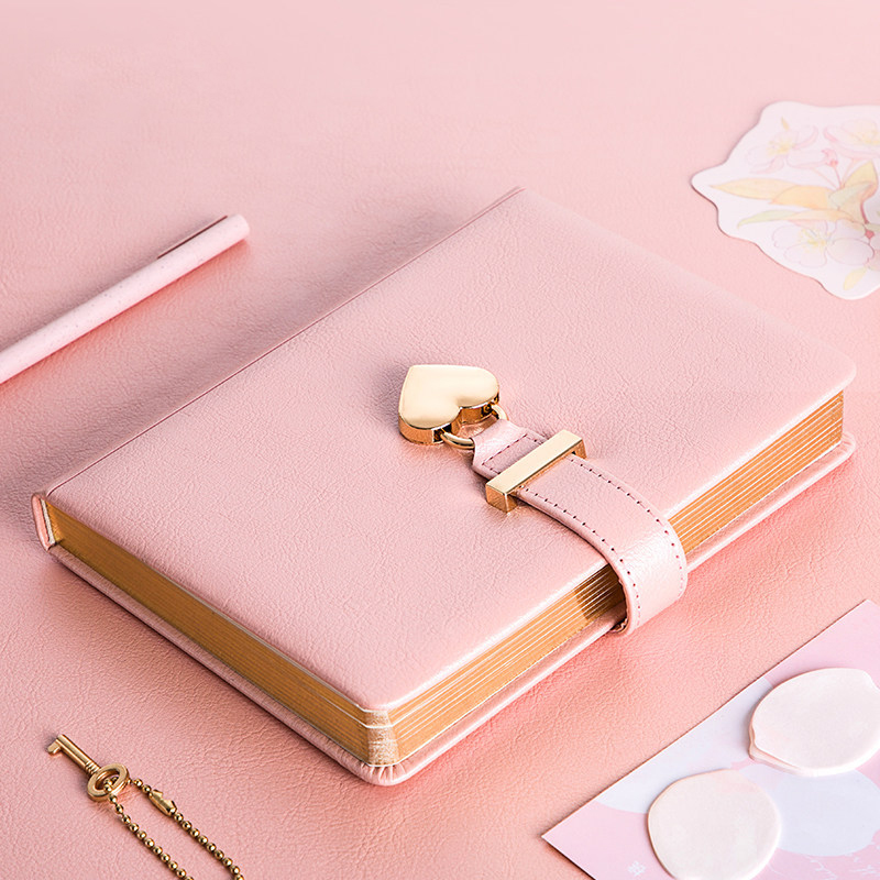 Kawaii Cute Personal Diary with Heart Lock PU Leather B5 Notebook School Supplies Lockable Password Writing Pads Girl Women Gift