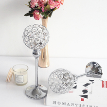 Candle-Holders Centerpiece Wedding-Candelabra Crystals Table-Decoration Pillar Silver-Plated