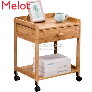 Bamboo belt wheel bedside cabinet bedroom simple small removable storage cheap with wheels