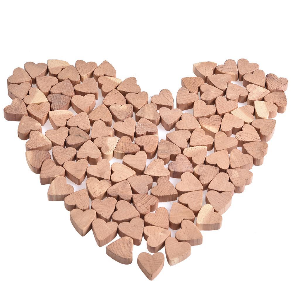 100PCS Love Shape Cedar Wood Blocks Natural Cedar Storage Box Shoes And Clothes Moisture-proof Wood Blocks