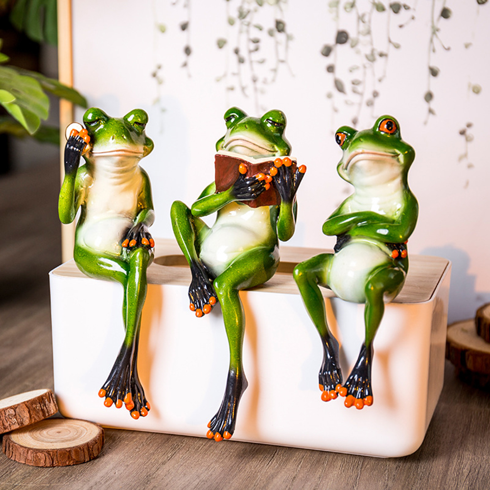 Kawaii 3D ResinSitting Toilet Ornaments Frog Figurines Cabochon Crafts Creative For Home Decor Resin Frog home accessories|Figurines & Miniatures| |  - title=
