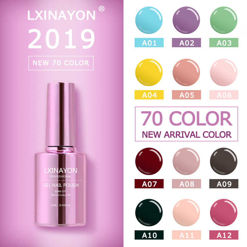 LXINAYON żel do paznokci lakier do paznokci Semi Permanant opies Soak Off Gelpolish Nail Art Design Manicure żel UV lakier do paznokci Lacque