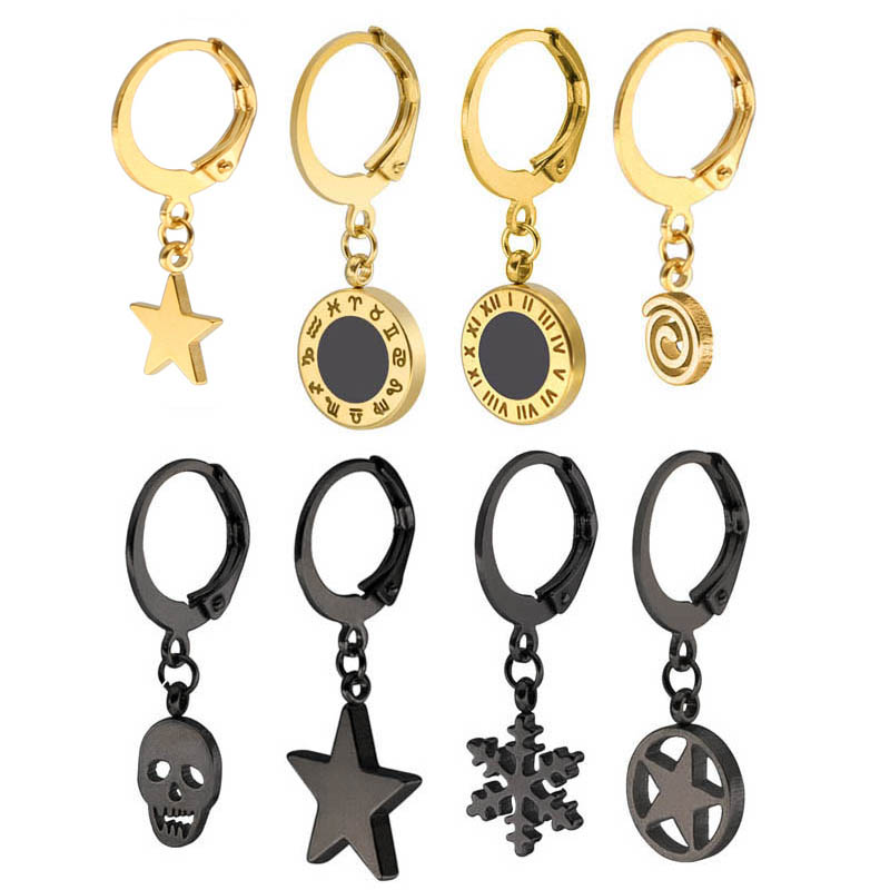Fashion Stainless Steel Earrings Roman Numeral Anchor Skull Star Pendant For Women Classic Hoop Ear Jewelry Gifts 2 Pieces