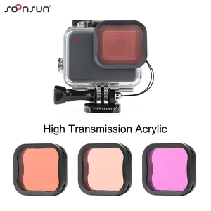 Image 5 - SOONSUN 40m Waterproof Underwater Protective Housing Case with 3 Pack Diving Lens Filter for GoPro Hero 7 Silver/White Go Pro 7