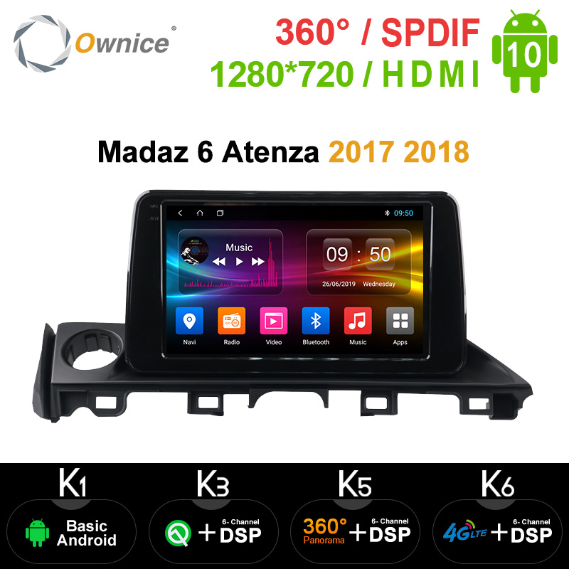Ownice DSP 8 Core Android 10.0 K3 K5 K6 Car Audio <font><b>GPS</b></font> Navigation Player for <font><b>Mazda</b></font> CX-5 <font><b>Mazda</b></font> <font><b>6</b></font> Atenza 2017 2018 SPDIF 1280*720 image