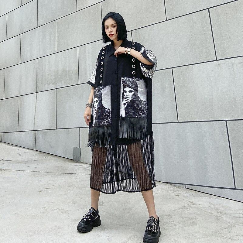 Summer Women Short Sleeve Oversize Sequin Tassel Splice Mesh Shirt Cardigan Streetwear Hip Hop Punk Gothic Loose Dress Cloak 631