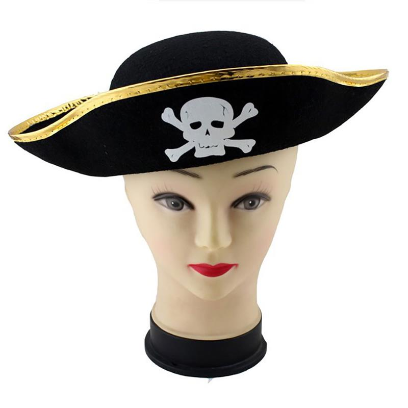 1PC Pirate Hat Halloween Masquerade Cosplay Costume Party Decor DIY Fancy Dress Up (Black+Gold)
