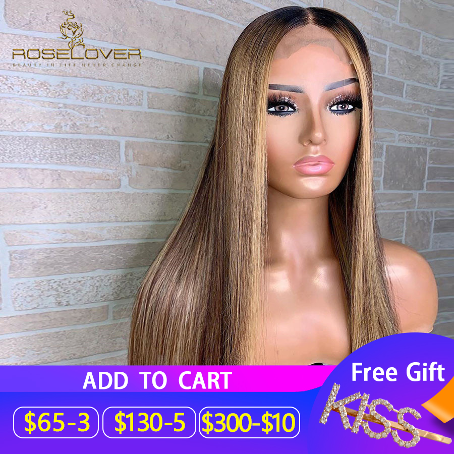 13*6 Remy Peruvian 150% Ombre Human Hair Wigs #4/27 Highlight Lace Front Human Hair Wigs Lace Wigs Straight Hair Fast Shipping