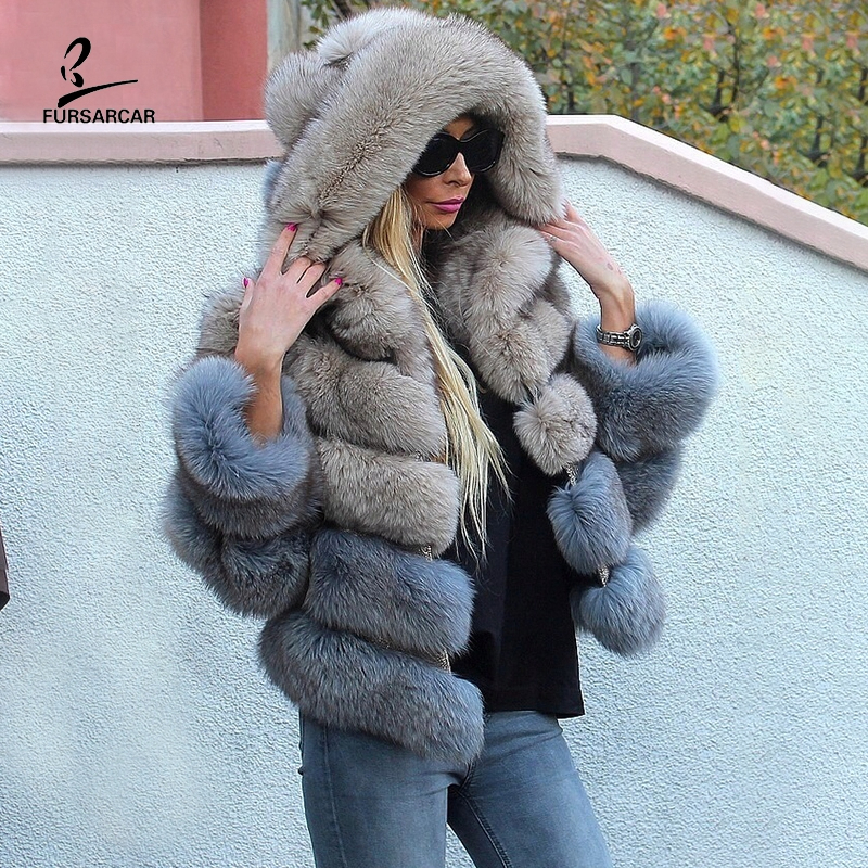 FURSARCAR Patchwork Women Real Fox Fur Hooded Winter Coats And Jackets Women's Natural Stripe Genuine Fur Outerwear 2019 New