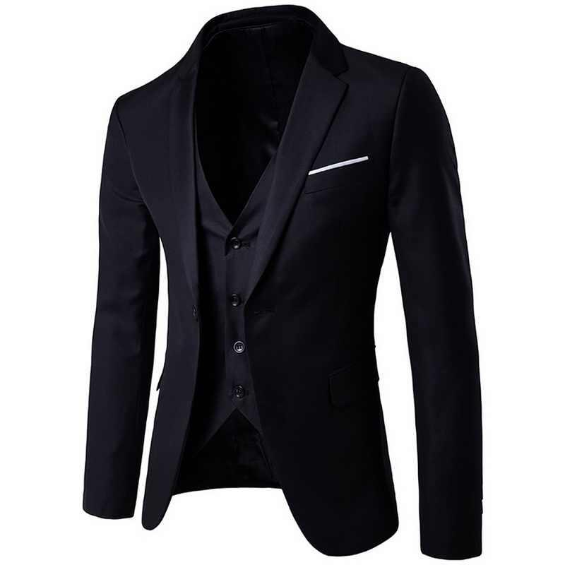 (Jaqueta + calça + colete) terno masculino jaqueta slim, jaqueta slim para homens de seção final, primavera e outono, blazer para casamento 2019